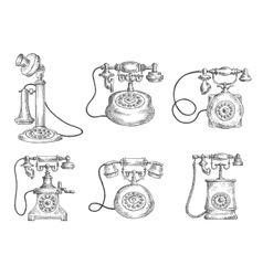 Vintage isolated rotary dial telephones sketches vector