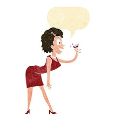 cartoon woman with drink with speech bubble vector image