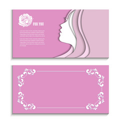 Flyer with a profile of a beautiful woman vector