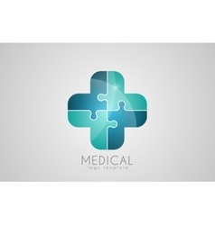 Abstract medical logo puzzle medicine logo vector