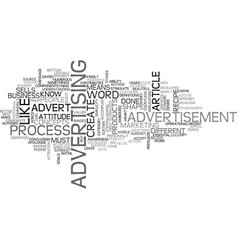 Advert recipe text word cloud concept vector
