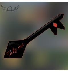 Alice take me key from wonderland world vector