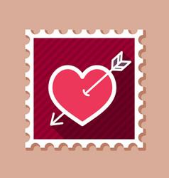 Arrow heart stamp love sign vector