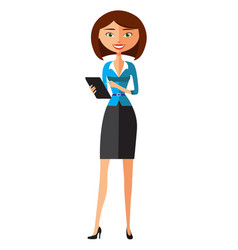 Beautiful business woman displaying tablet vector