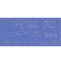 Blue print weapons set vector