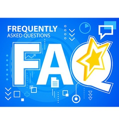 Bright faq of star on blue background for ba vector