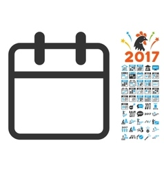 Calendar leaf icon with 2017 year bonus symbols vector