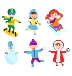 Christmas kids playing winter games vector