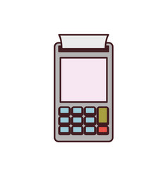Color silhouette with payment terminal and black vector