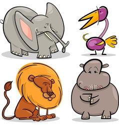 cute cartoon african animals set vector image vector image