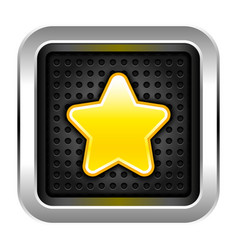 Favorites icon gold star on chrome metal button vector