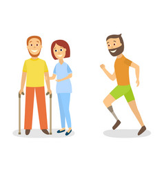 Flat disabled people scenes set vector