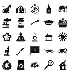 Habitat icons set simple style vector