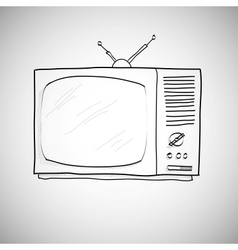 hand drawn retro TV vector image