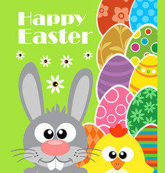 Happy easter background with rabbit and chicken vector