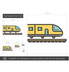 High speed train line icon vector