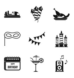 Holiday food icons set simple style vector