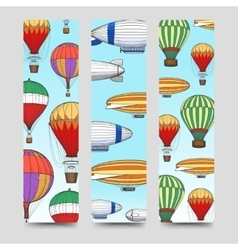 Hot air balloons bookmarks set vector image vector image