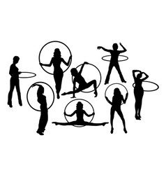 Hula hoop girl activity silhouettes vector