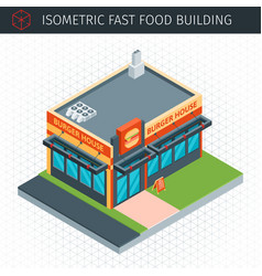 Isometric fast food building vector