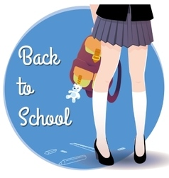 Japanese schoolgirl legs with bag and lettering vector
