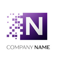 letter n logo symbol in the colorful square with vector image vector image