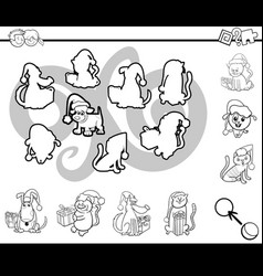 match silhouettes activity coloring page vector image vector image