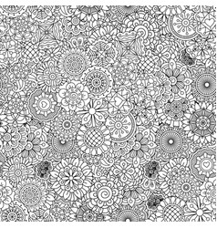outline ormanental flowers pattern vector image vector image