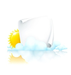 Paper frame in clouds vector image
