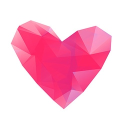 Polygonal red heart on white background vector image vector image
