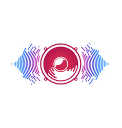 Red speaker and sound waves isolated vector