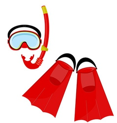 Red swimming equipment vector image vector image
