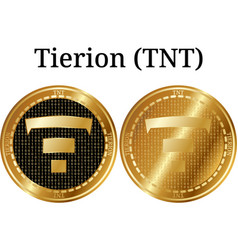 Set of physical golden coin tierion tnt vector