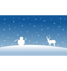 Silhouette of snowman and deer scenery vector