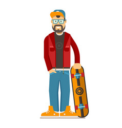 skateboarder hipster man with beard vector image vector image