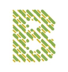 Striped latin alphabet letter b hatching font vector