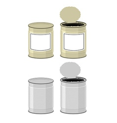 Template Tin with design Open a tin can Tin on a vector image