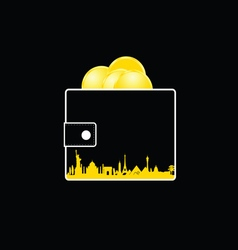 Wallet with money gold and city vector