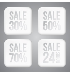 White plastic SALE buttons vector image