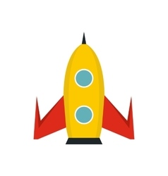 Yellow rocket icon in flat style vector