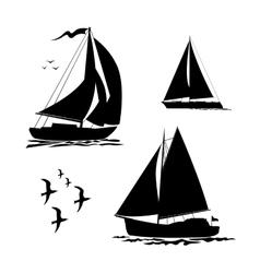 Yacht sailboats and gull set vector