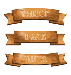 western cartoon style hanging wooden signboards vector image