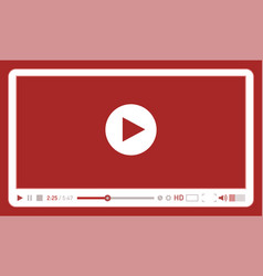 Red video player template for web and mobile apps vector
