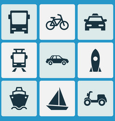 Transport icons set collection of tanker vector