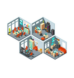 Isometric business offices with different vector