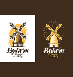 Bakery bread logo or label farm agriculture vector
