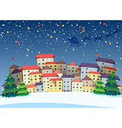 A village with christmas trees vector image