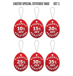 Easter discount tags in the form of egg set 1 vector