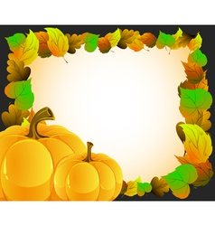 Pumpkins with autumn leaves vector