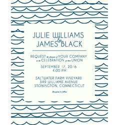 Wedding invitation card with abstract water vector image